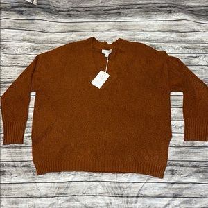 Free Assembly Orange V-Neck Oversized Sweater